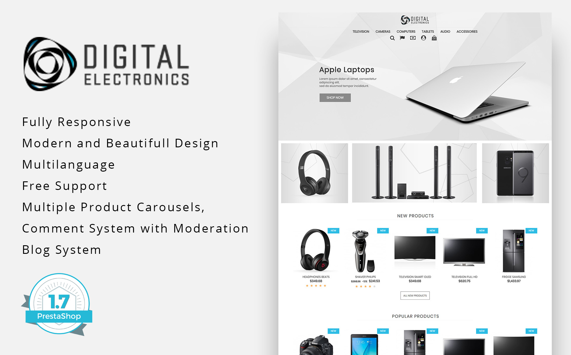 Digital Electronics Store 1.7 PrestaShop Theme