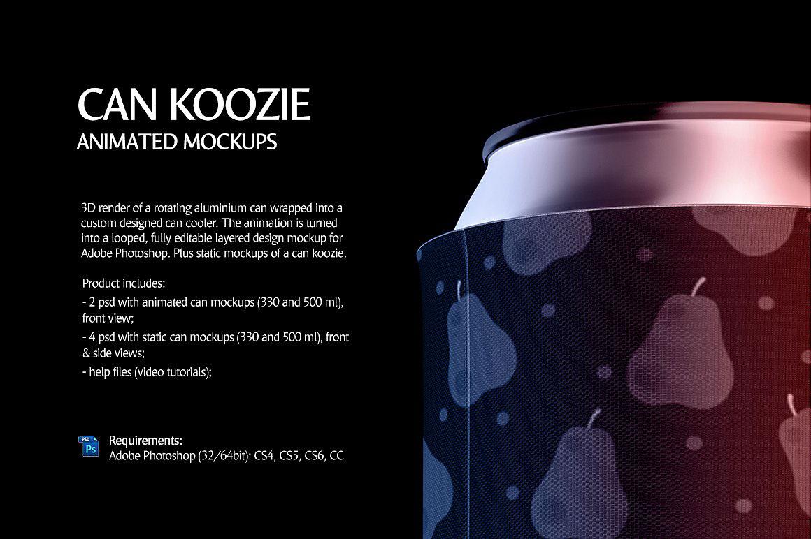 Can Koozie Animated Product Mockups