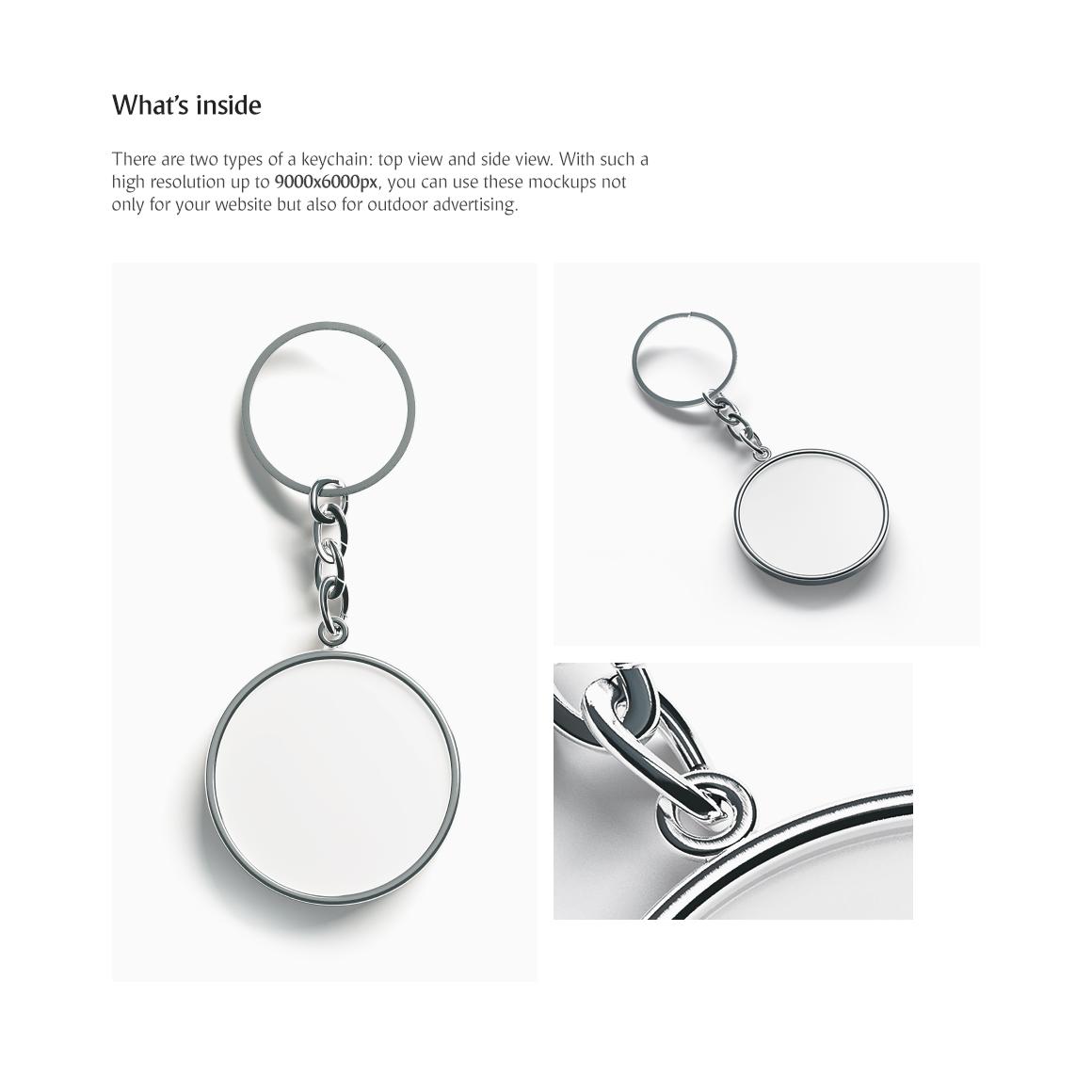 Round Keychain Product Mockups