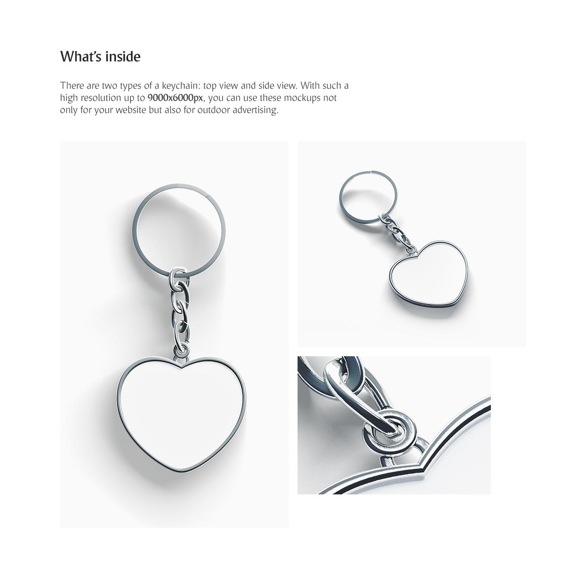 Heart Keychain Product Mockups