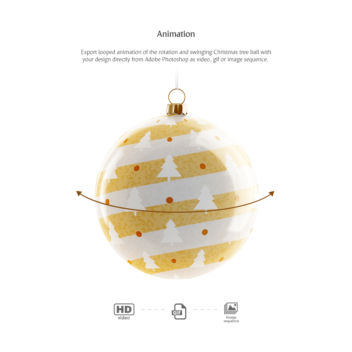 Christmas Tree Ball Animated Product Mockups