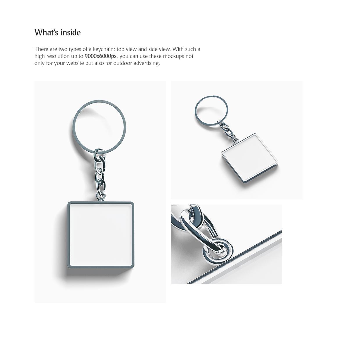 Square Keychain Product Mockups