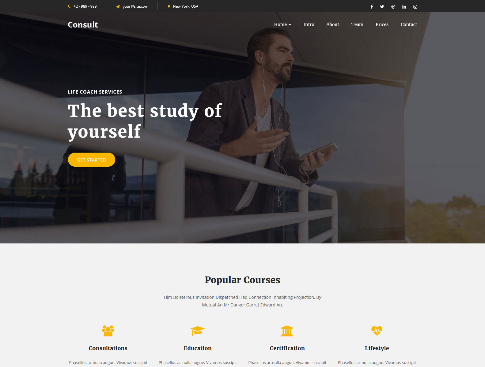 Consult - LifeCoach Landing Page Template