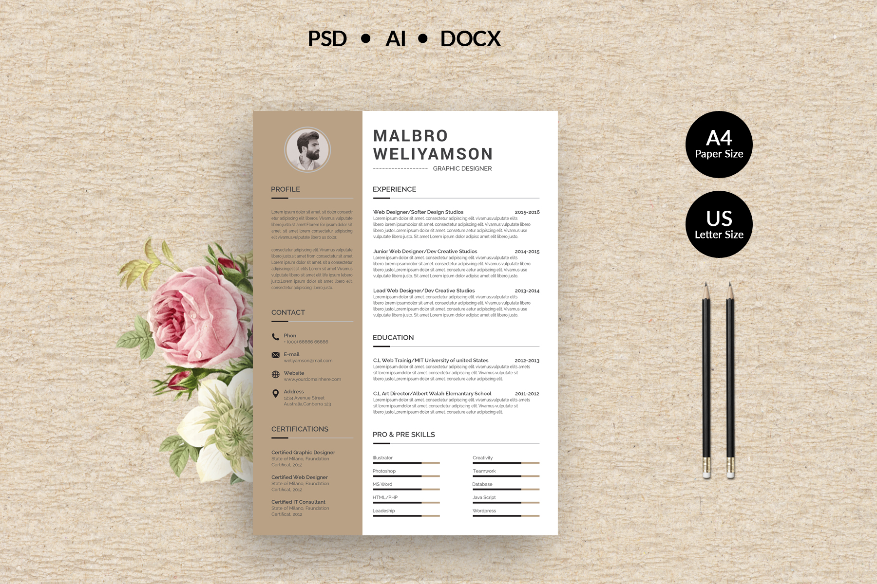 Malbro Professional Resume Template