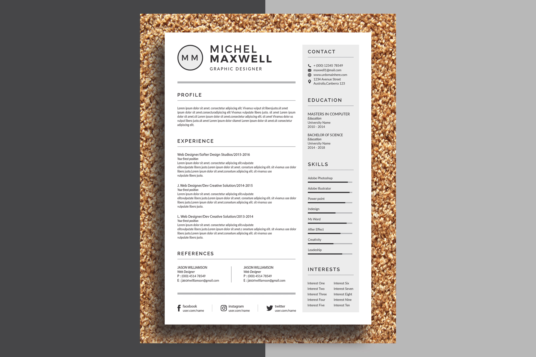 Michel Maxwell - Resume Template