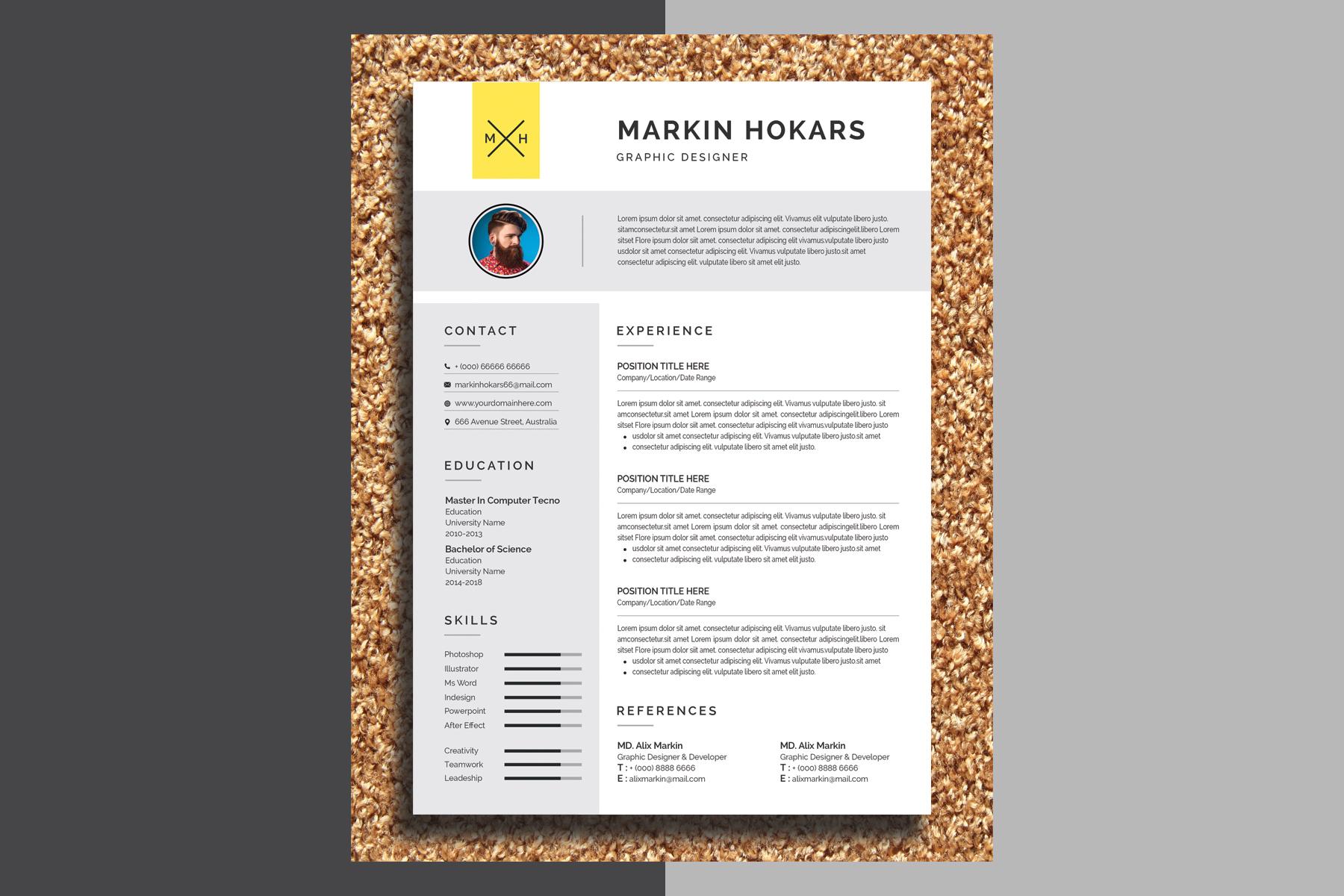 Markin Hokars Modern Resume Template