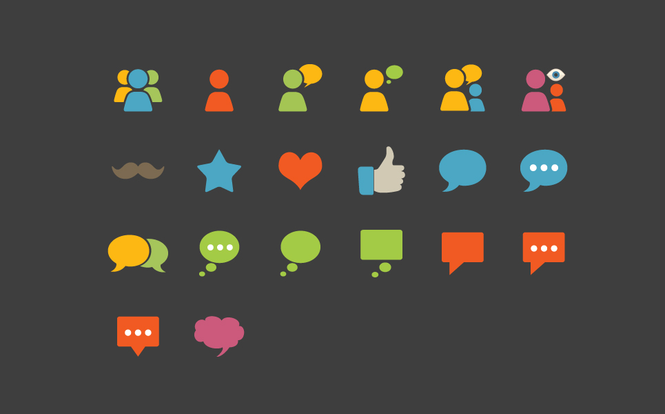 Social Communication Flat Icon Sets