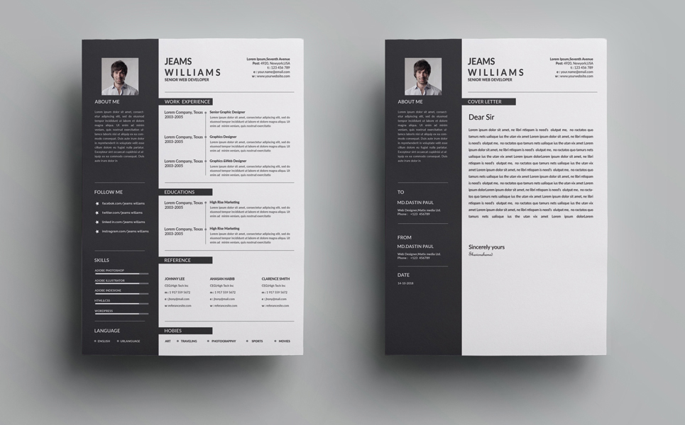 Jeams  Cleans Resume Template