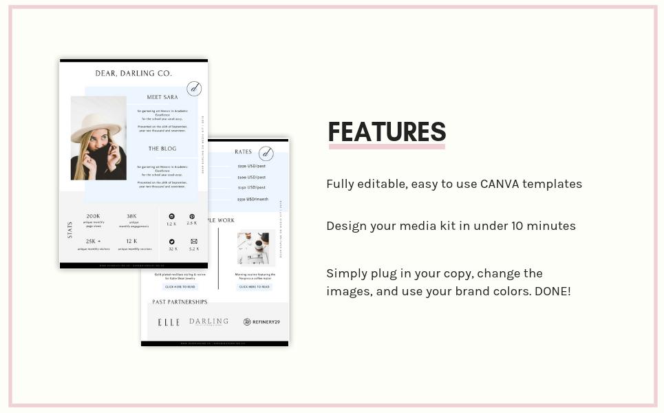 CANVA Bloggers Media Kit UI Elements
