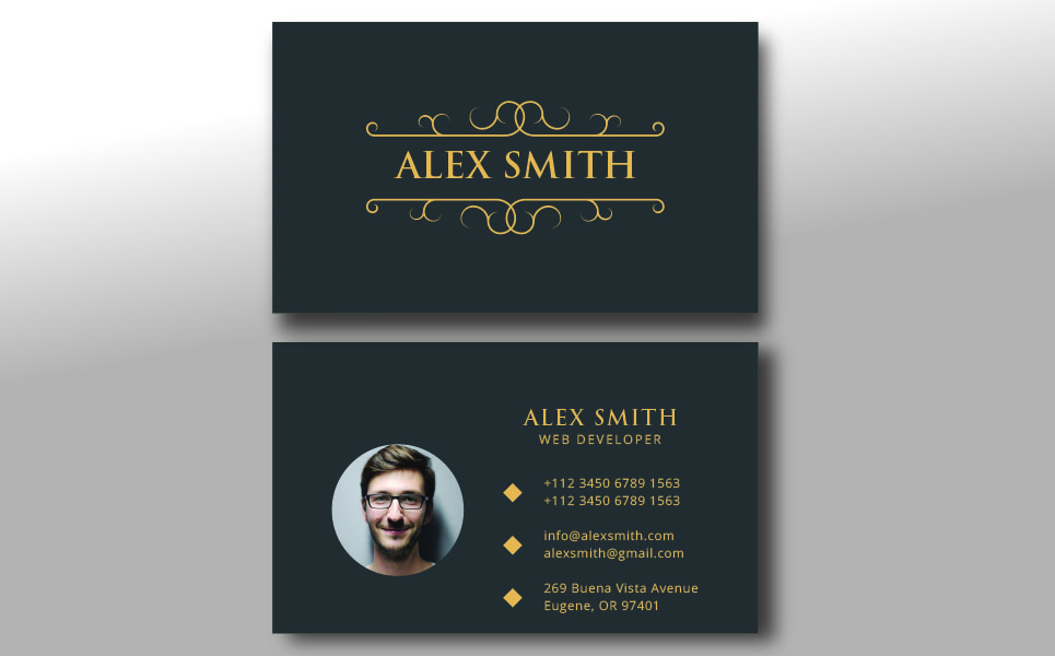 Alex Smith 2 Style Clean Business Card Corporate Identity