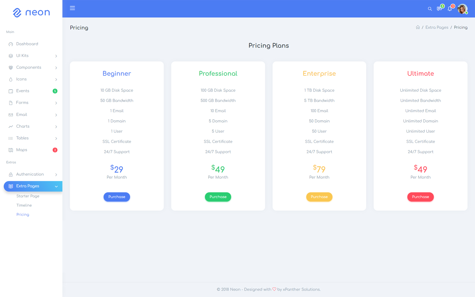 Neon - Responsive Bootstrap 4 UI Kits Admin Template