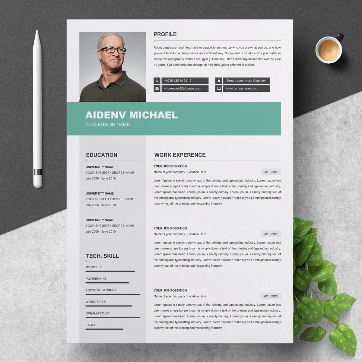 3 Page Professional Resume Template
