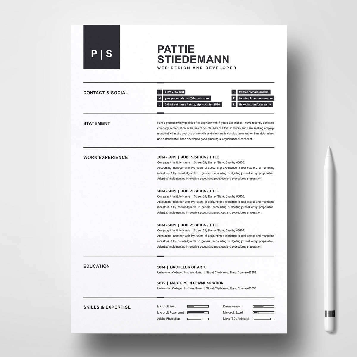 Pattie Stiedeman Resume Template