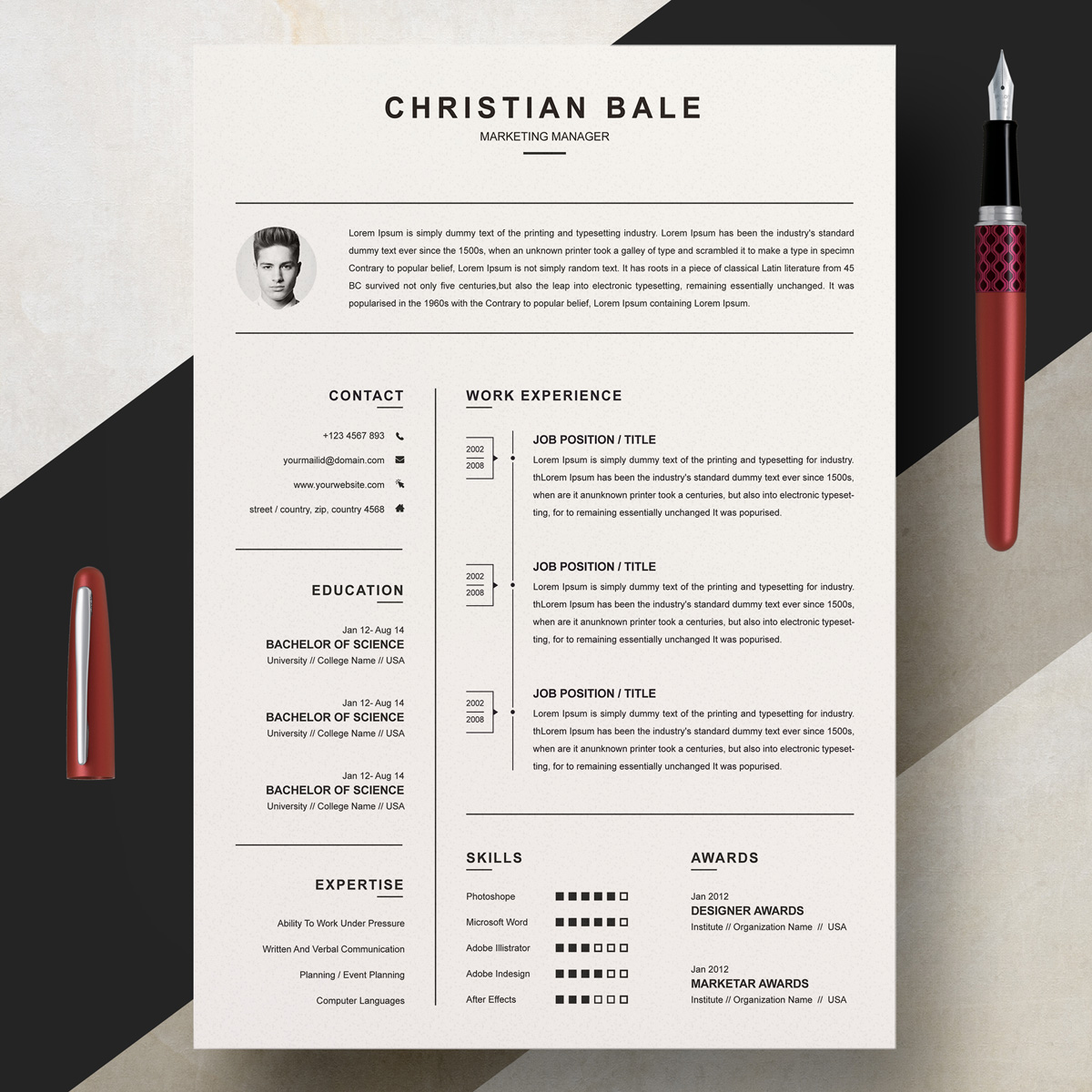 Christian Bale Resume Template