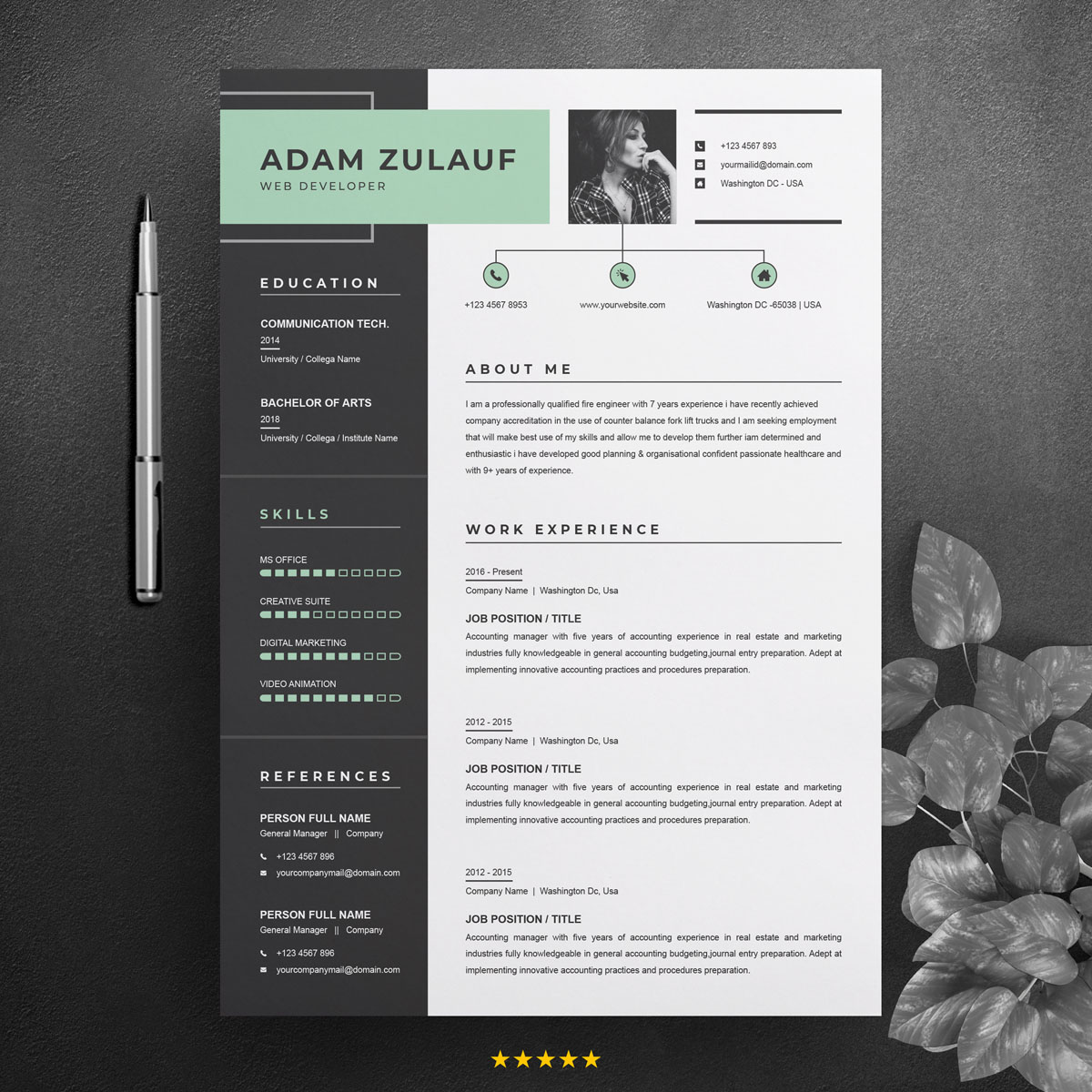 Adam Zulauf Resume Template