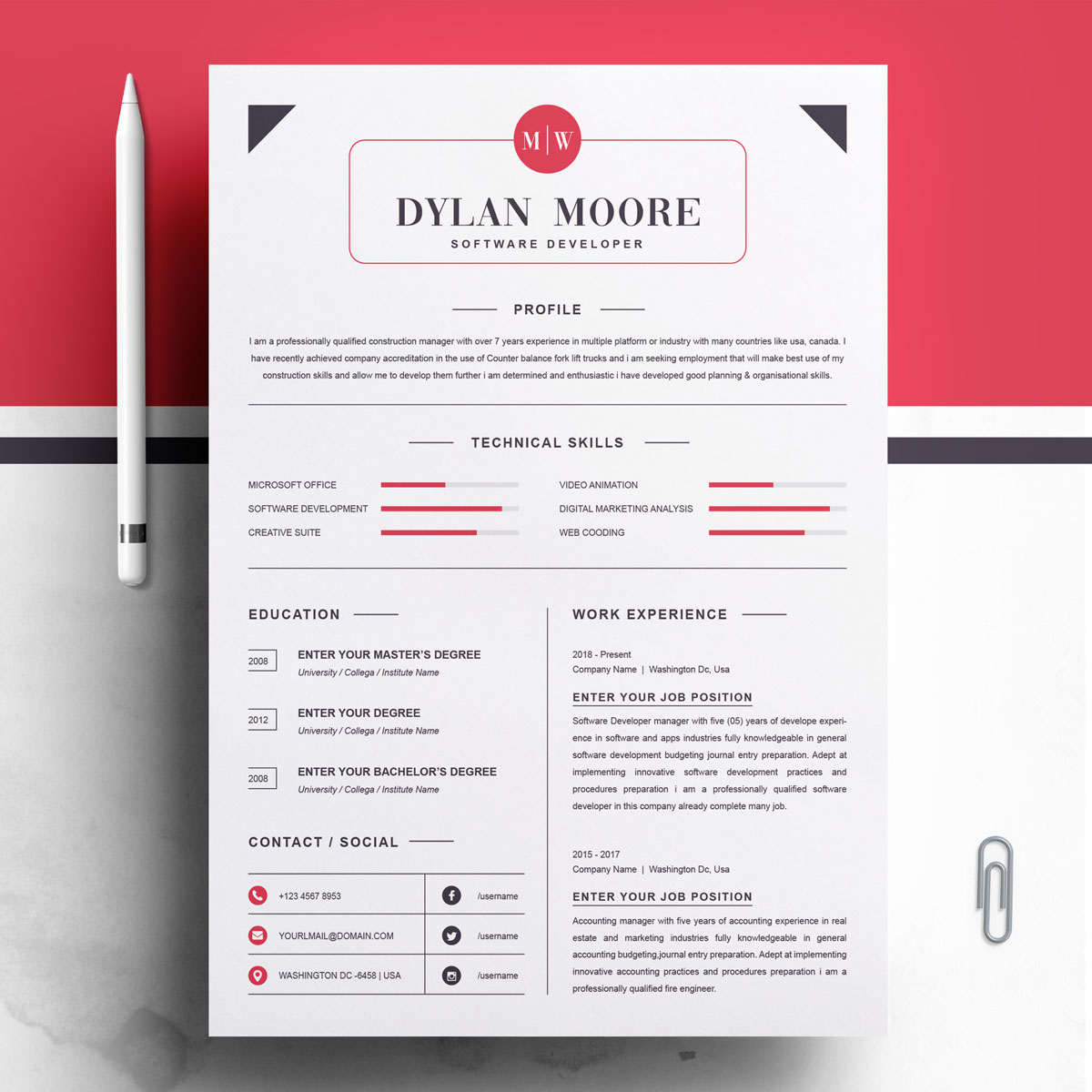 Dylan Moore Resume Template