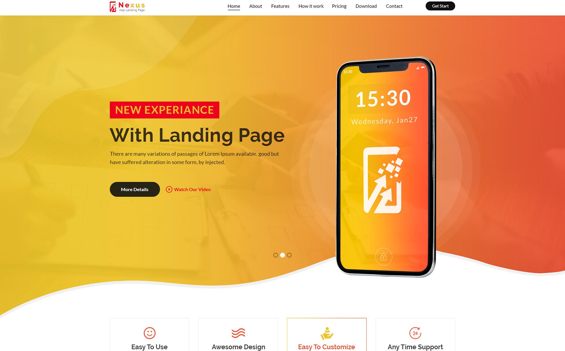 Nexus App Landing Page PSD Template