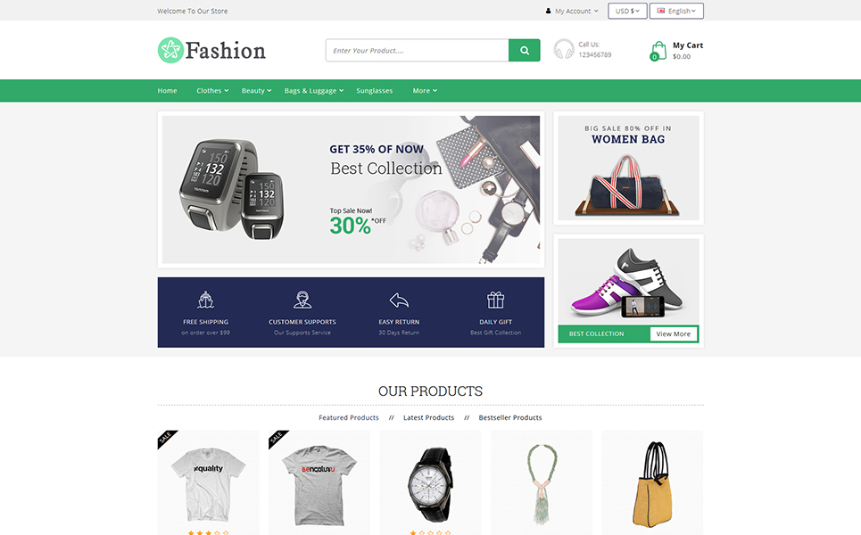 Fashion Apparel Multi Store OpenCart Template