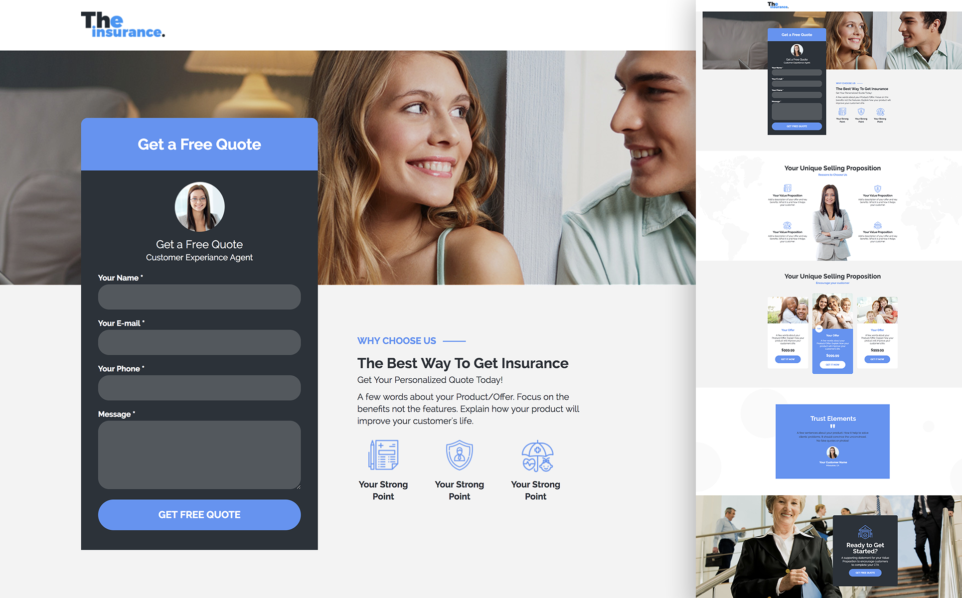 Family Insurance - Responsive Landing Page Unbounce Template