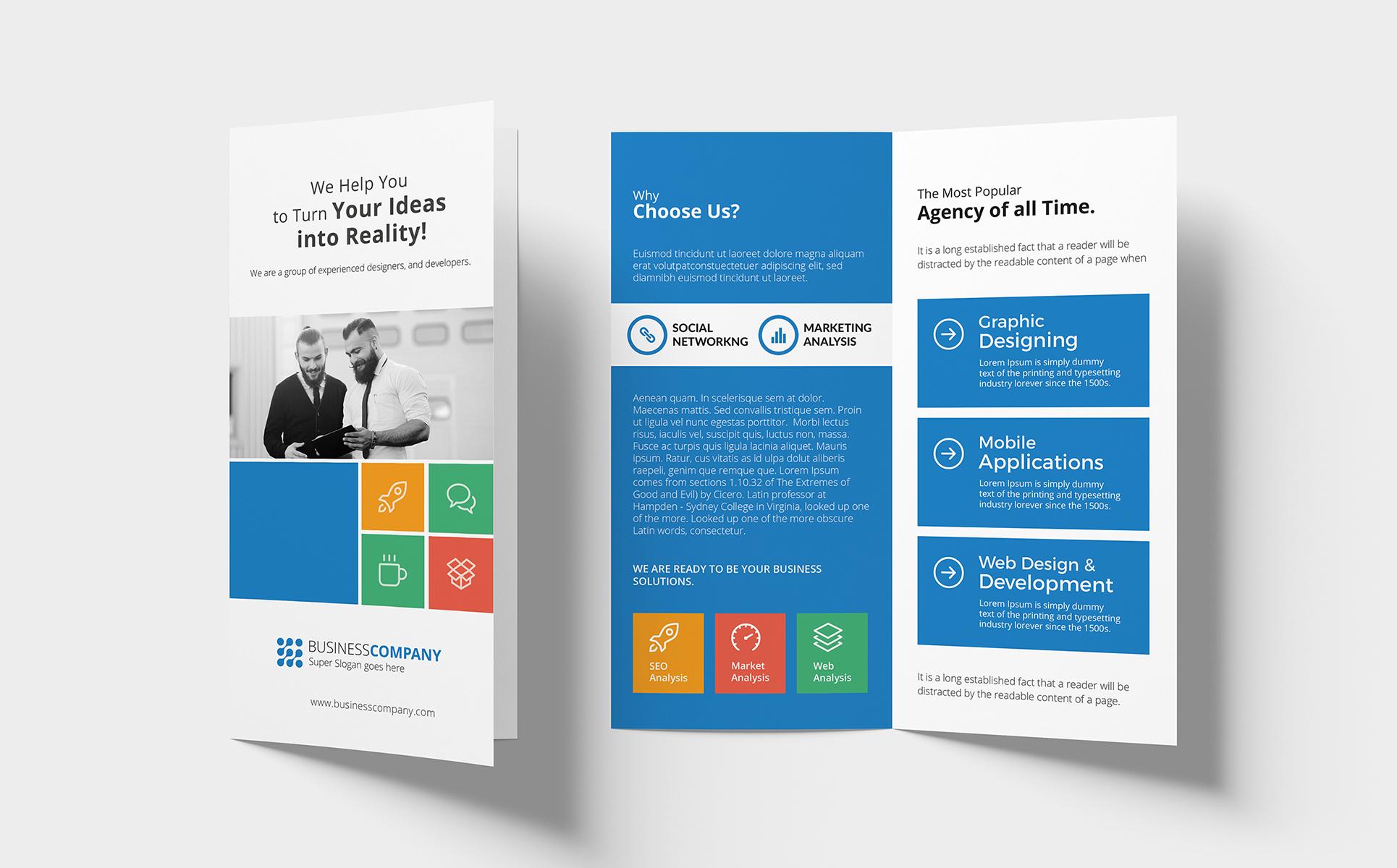 Metro Bi-fold DL Brochure Corporate Identity