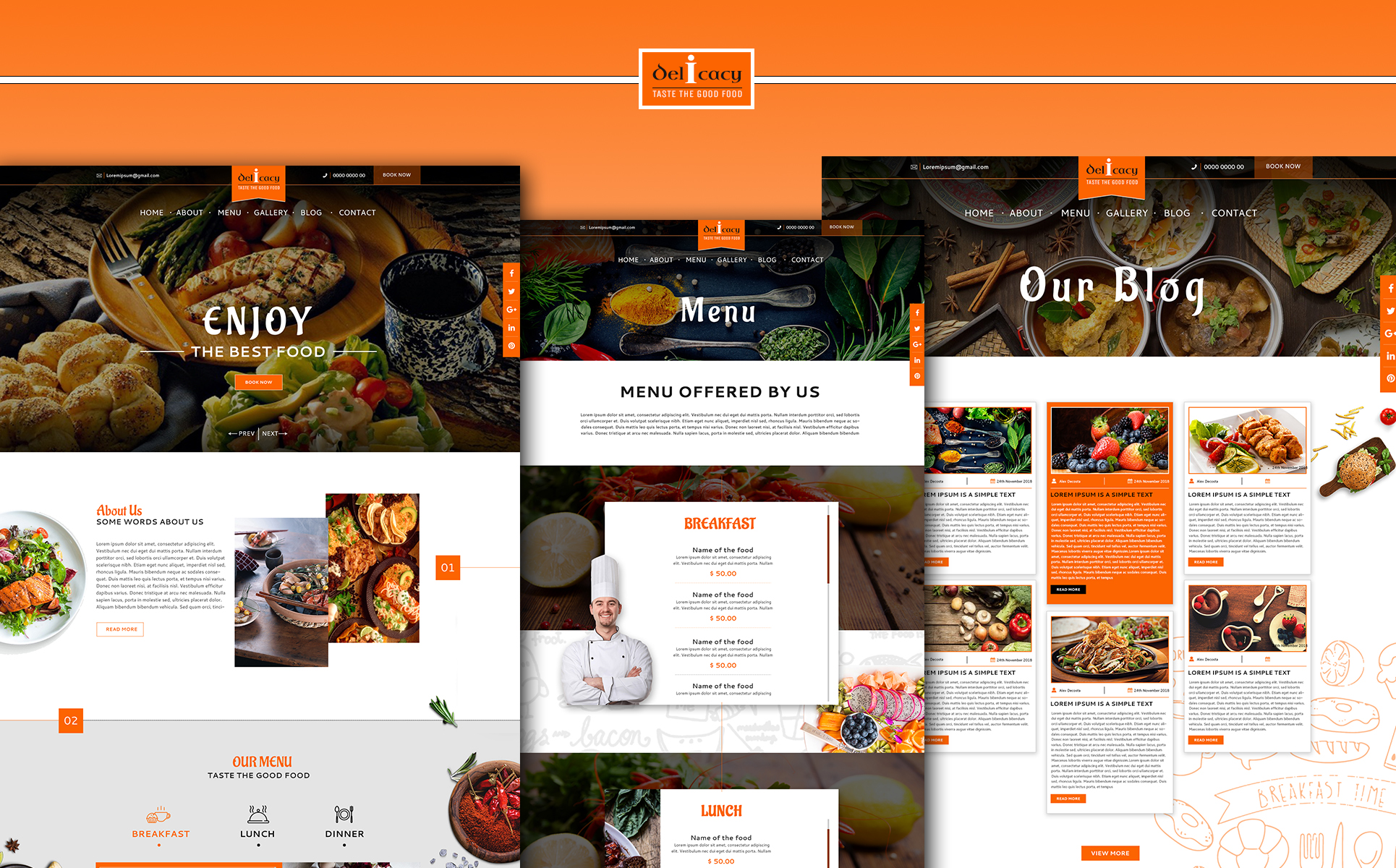 Delicacy - Multipurpose Restaurant PSD Template