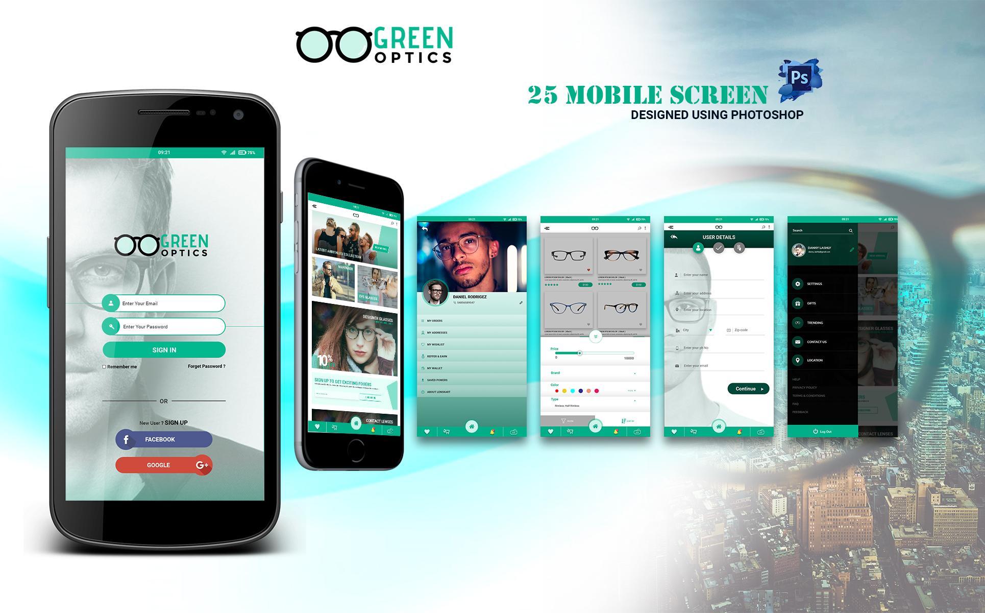 GreenOptics - Specs Store App PSD UI Elements