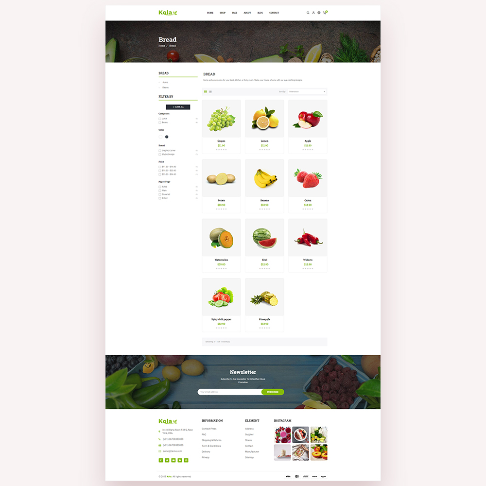 Kola Organic & Food PrestaShop Theme