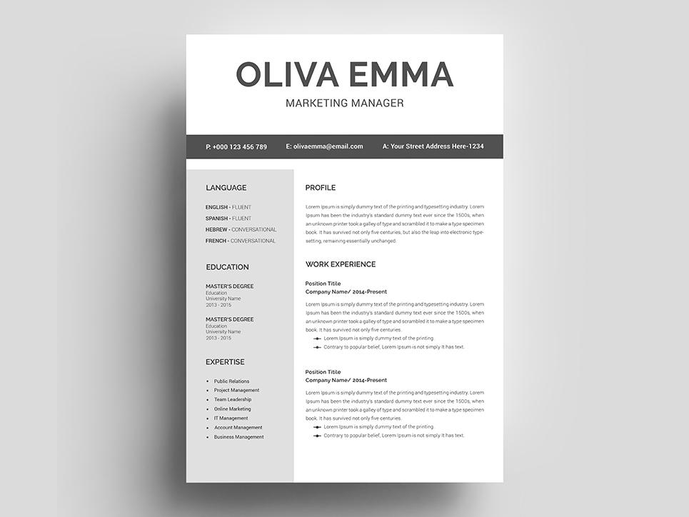 Oliva Emma Resume Template