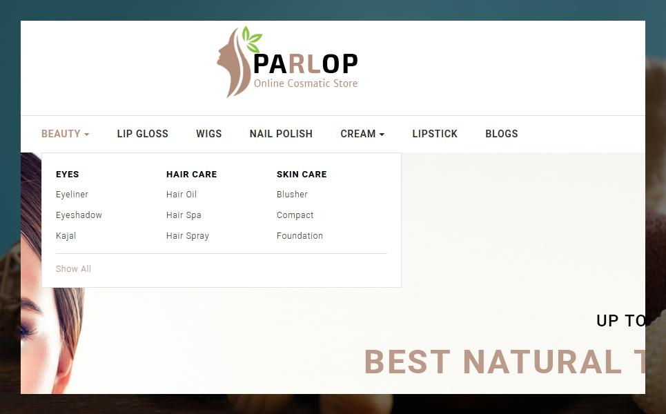 Parlop Сosmetics Shop OpenCart Template