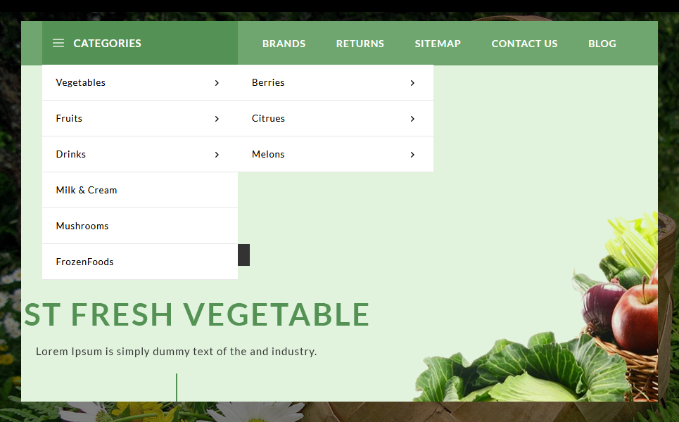 Metro Grocery and Vegetables OpenCart Template