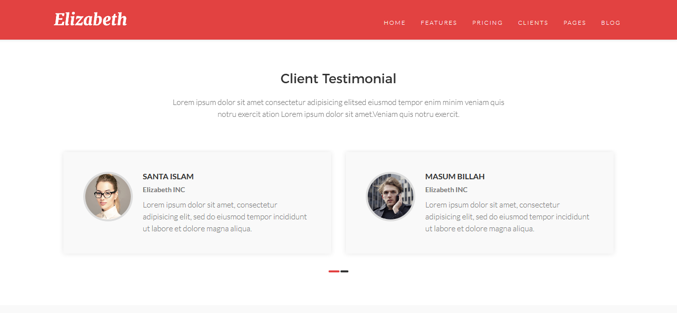 Elizabeth - One Page Corporate Joomla Template