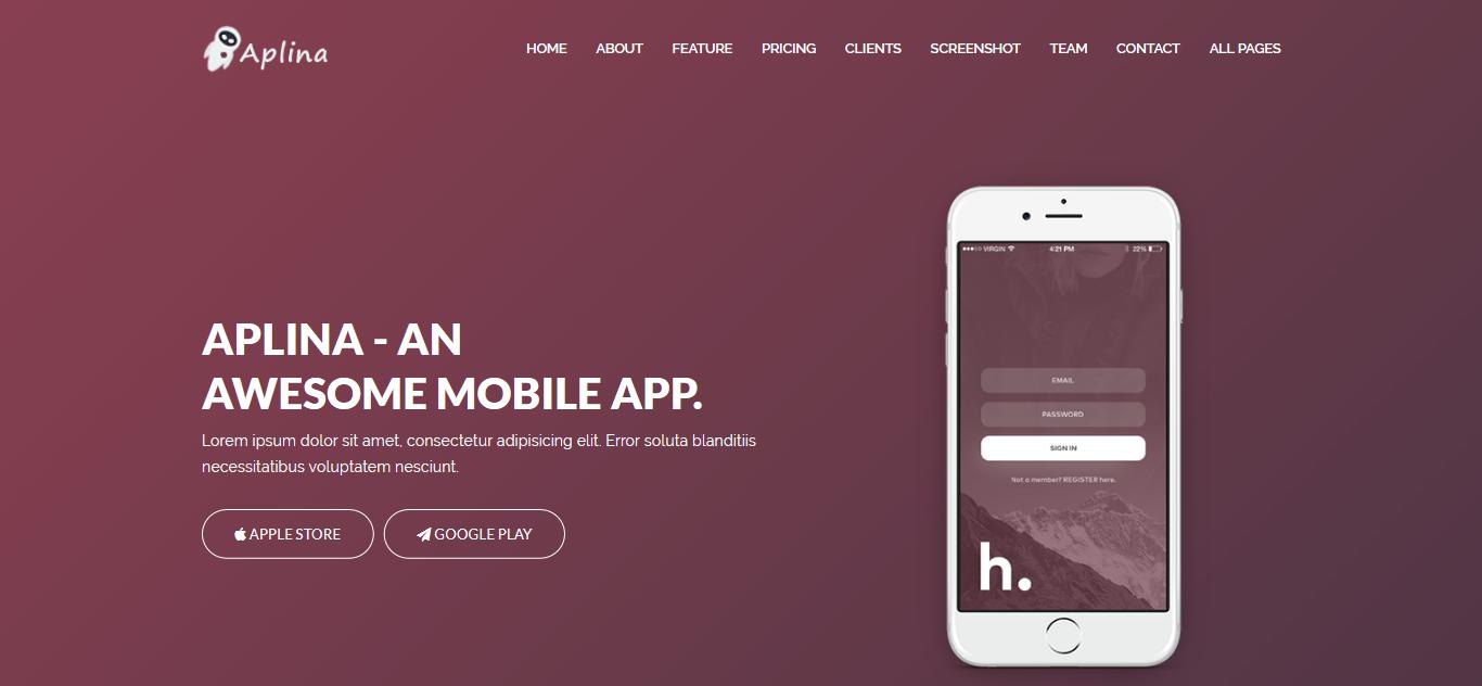 Aplina - App Landing Joomla Template