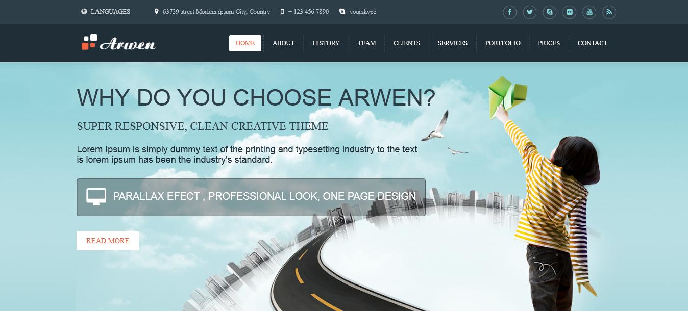 Arwen - Responsive Onepage Joomla Template