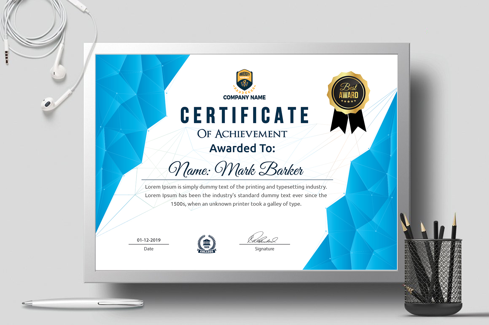 Mark Barker Creative Certificate Template