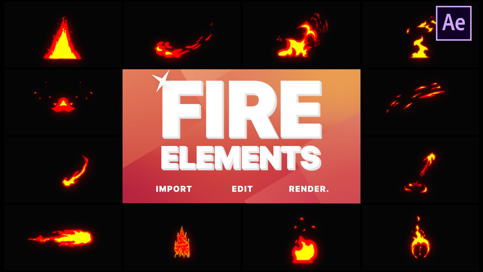 Cartoon Fire Elements After Effects Intros