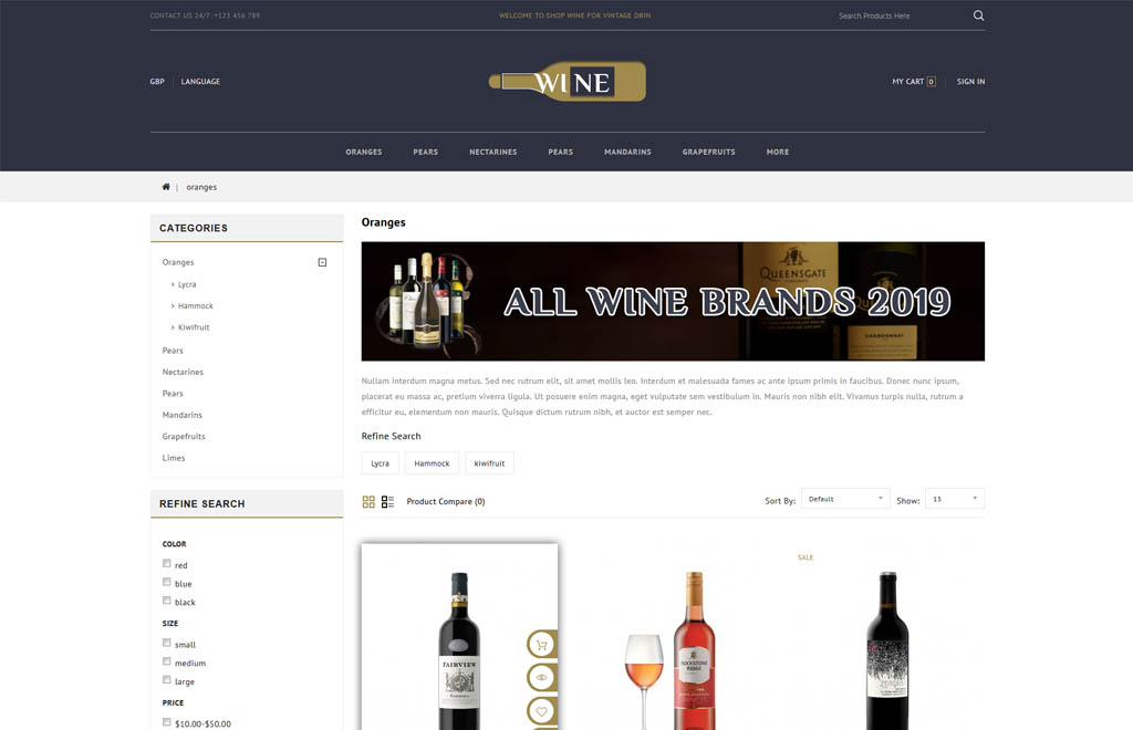 Wine Store OpenCart Template
