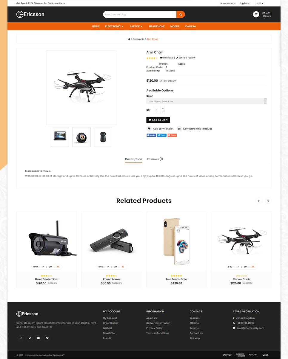 Ericssion Electronic Mega Store OpenCart Template