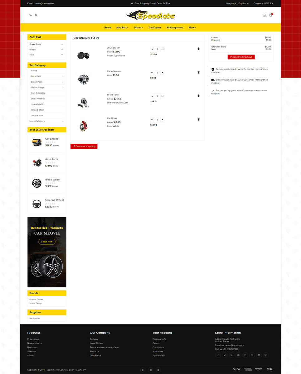 Speed Labs AutoPart Store OpenCart Template