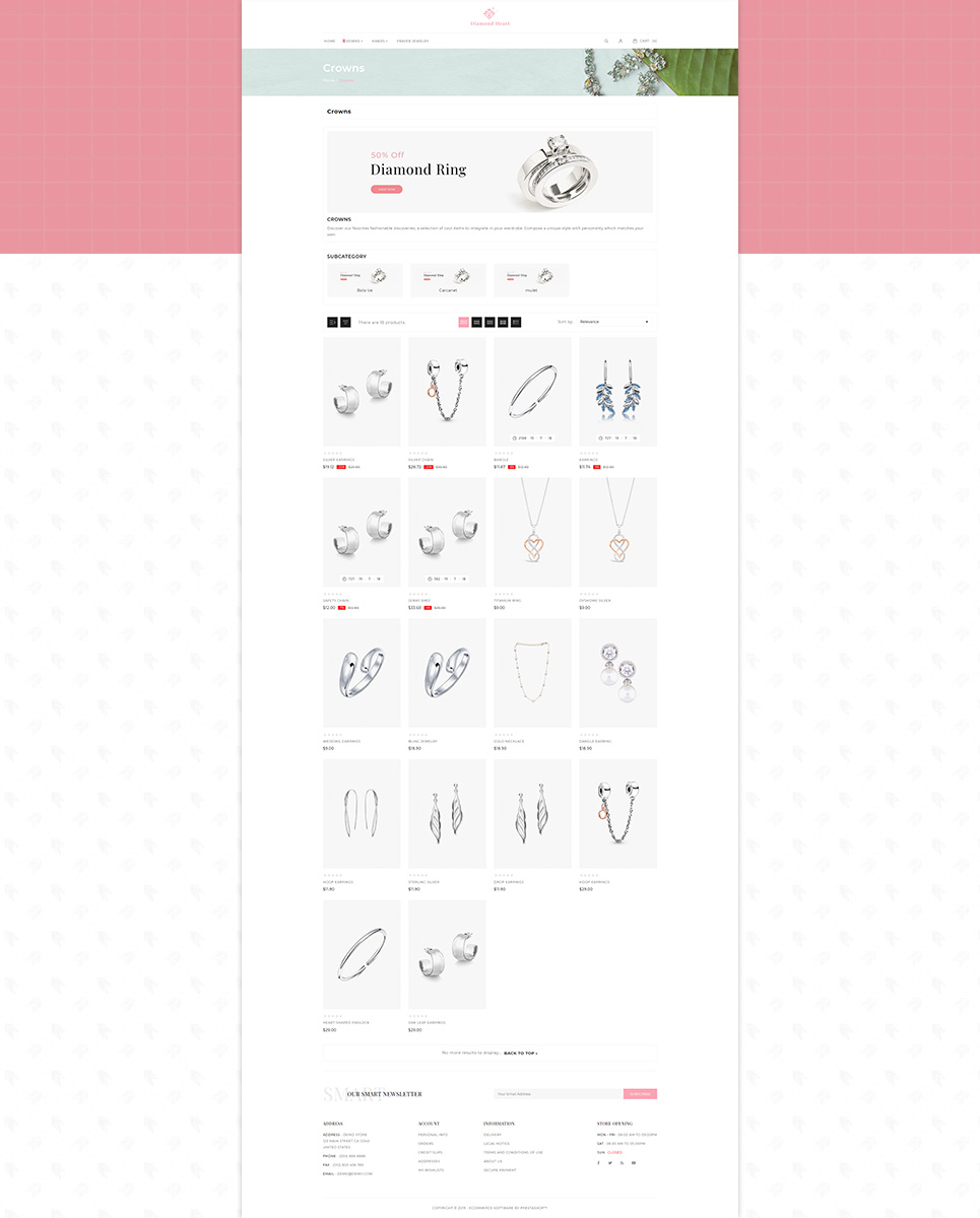 Diamond Heart Jewelry Store PrestaShop Theme