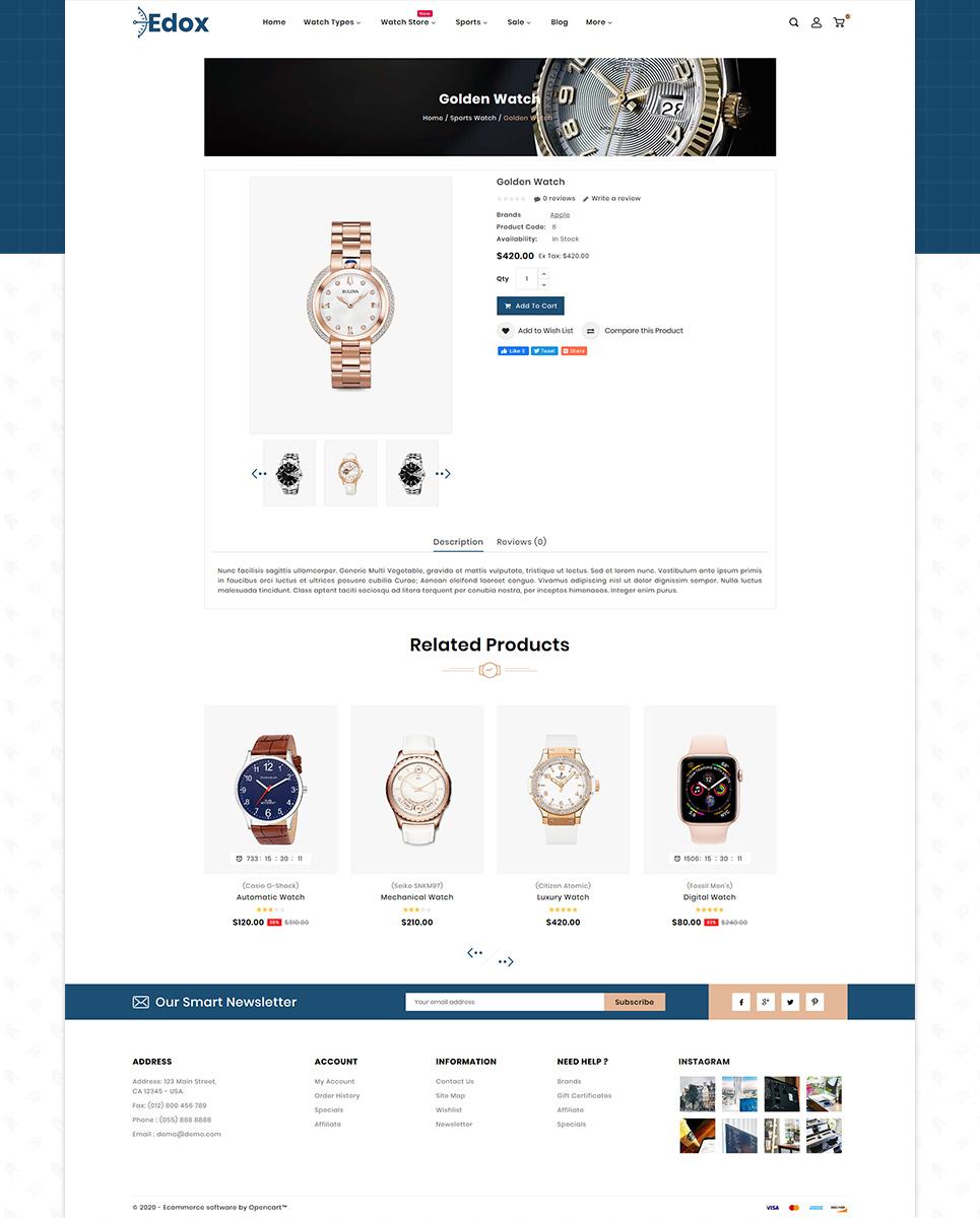 Edox Watch Store Theme OpenCart Template