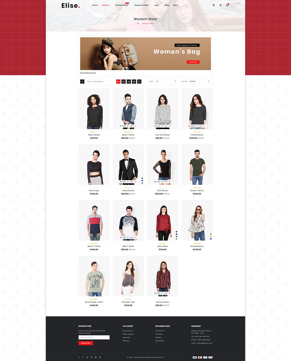 Elise Fashion OpenCart Template