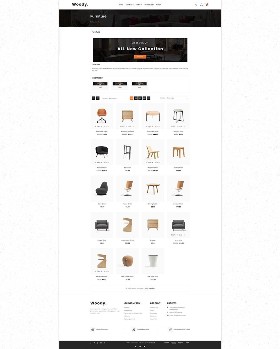 Woody Furniture Morden Responsive Store PrestaShop Theme