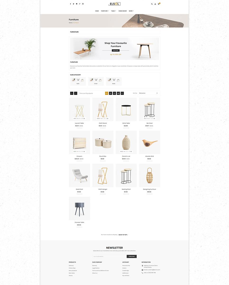 Elsol Furniture Store Premium PrestaShop Theme