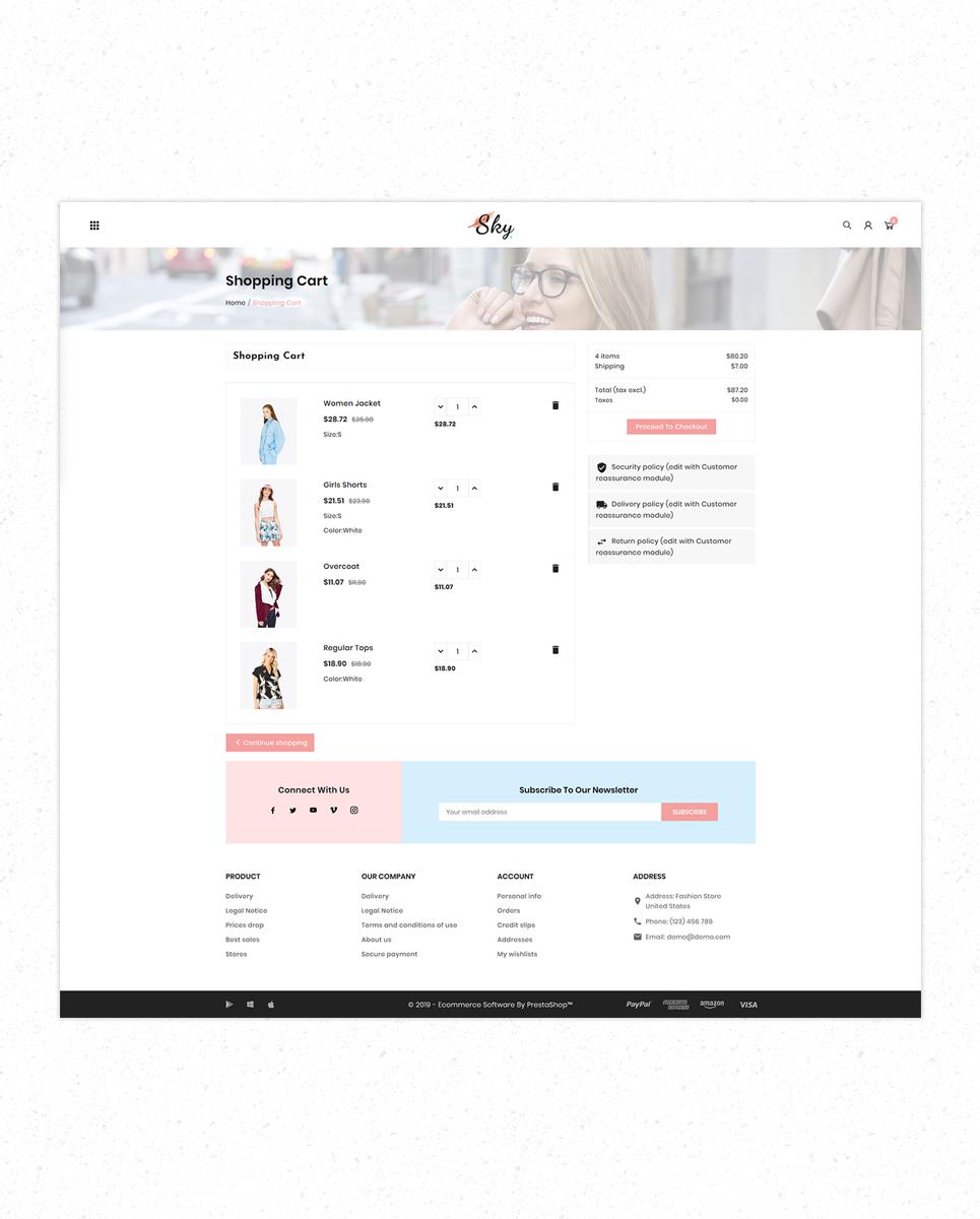 Free Sky Fashion Store Premium PrestaShop Theme