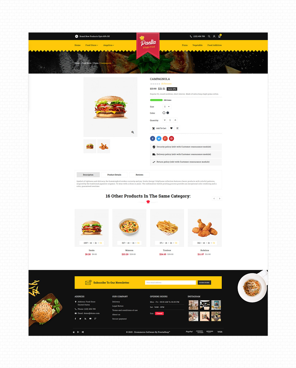 Paella Delight Food And Restaurant PrestaShop Theme