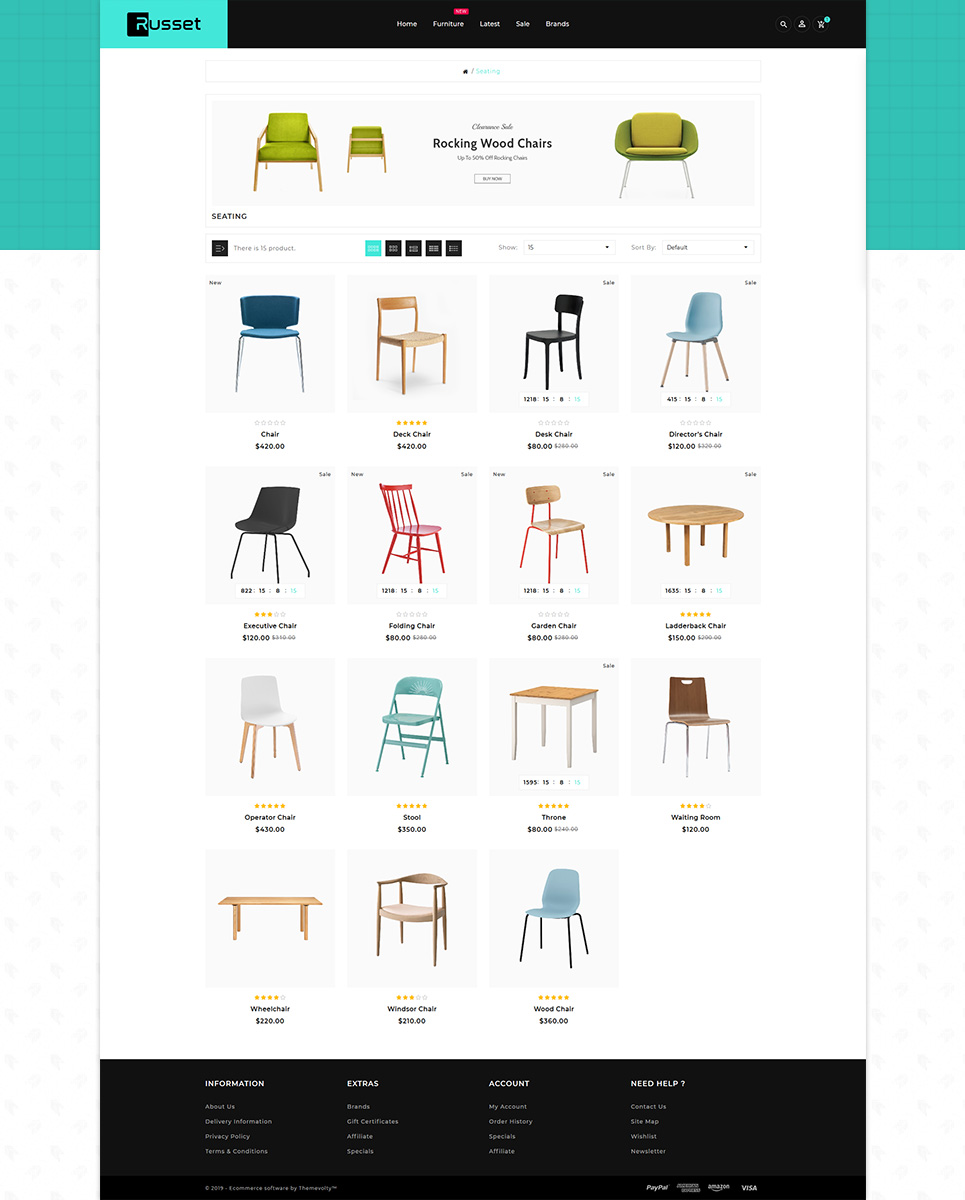 Russet - Furniture Home Decor Shop OpenCart Template