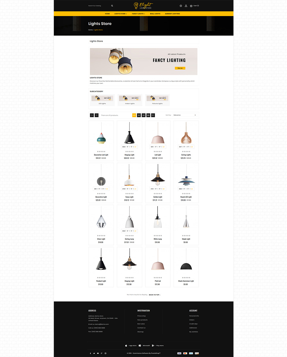 E-Light - LED Lighting Store PrestaShop Theme