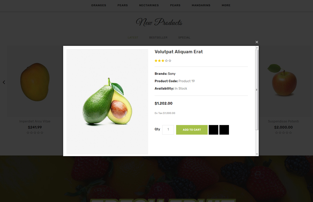Fruity - Fruit Store OpenCart Template