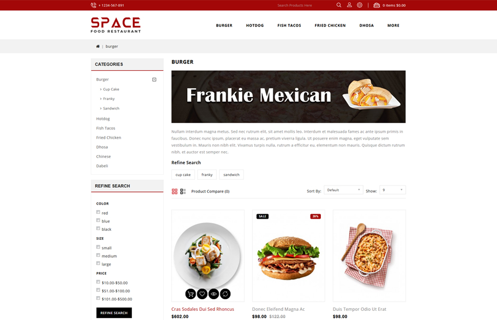 Space - Food Restaurant OpenCart Template