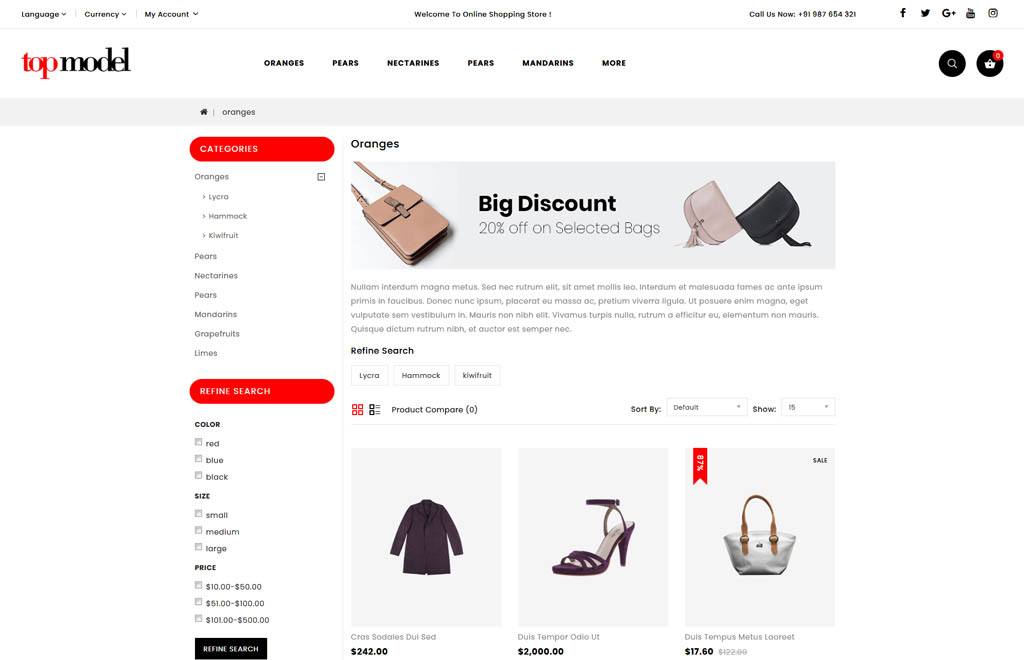 Top Model - Fashion Store OpenCart Template
